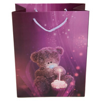 "High top sale very famous Premium High Quality Big Paper Bags 12.5"" inch x14"" inch Cute Teddy Bear Purple design best carry bags"