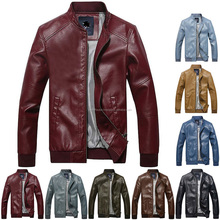 New Fashion Mens stand collar motorcycle PU Leather clothing men's leather jacket male outerwear Jackets Asia S-XXXL
