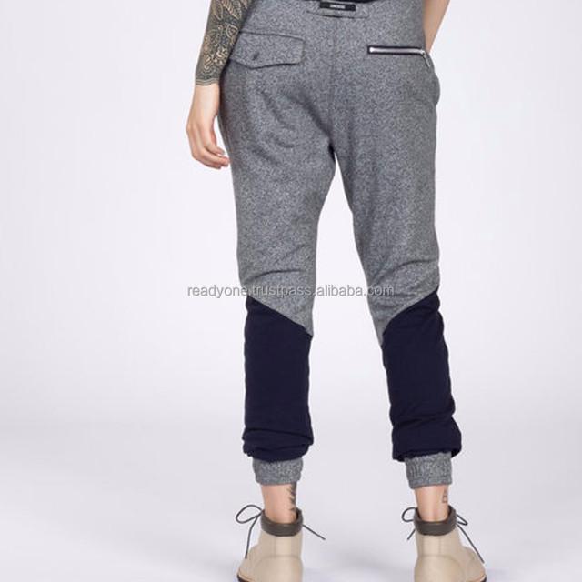 Custom branded zipper bottoms jogger fit elastic waist men denim pants -Military Olive