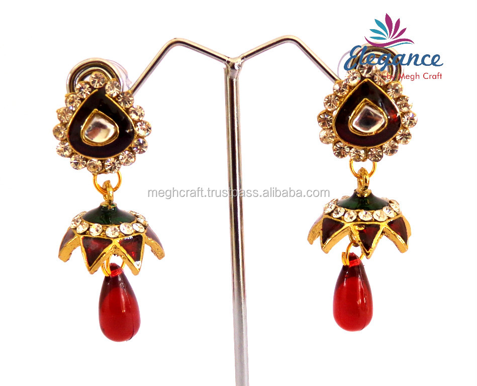 Small jumka earrings - indian meenakari jewellery - indian traditional earrings - imitation earrings jewellery