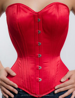 Red Satin Double Steel Boned Overbust Corsets