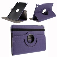 Cloth Skin Leather Cover with Swivel Stand for iPad Mini 4 - Purple