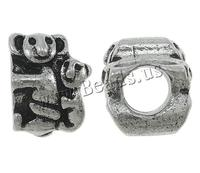 Zinc Alloy Pan Beads Koa antique silver color plated without oll nick lead & d free 8x11x10mm Hole:Appr 5mm 10PCs/Bag Sold By Ba