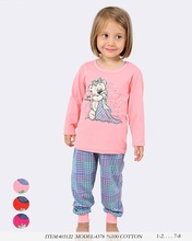 Girls Kids wear % 100 cotton jersey O collar Pyjamas Sets