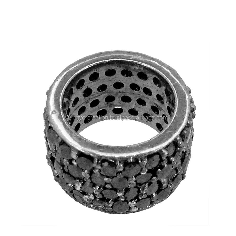Black Spinel Gemstone Pave 925 Sterling Silver Round Beads Wheel Spacer Finding Jewelry