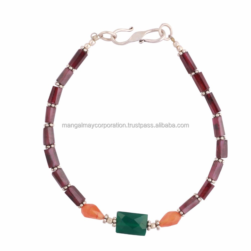 semi precious gemstone beaded bracelet