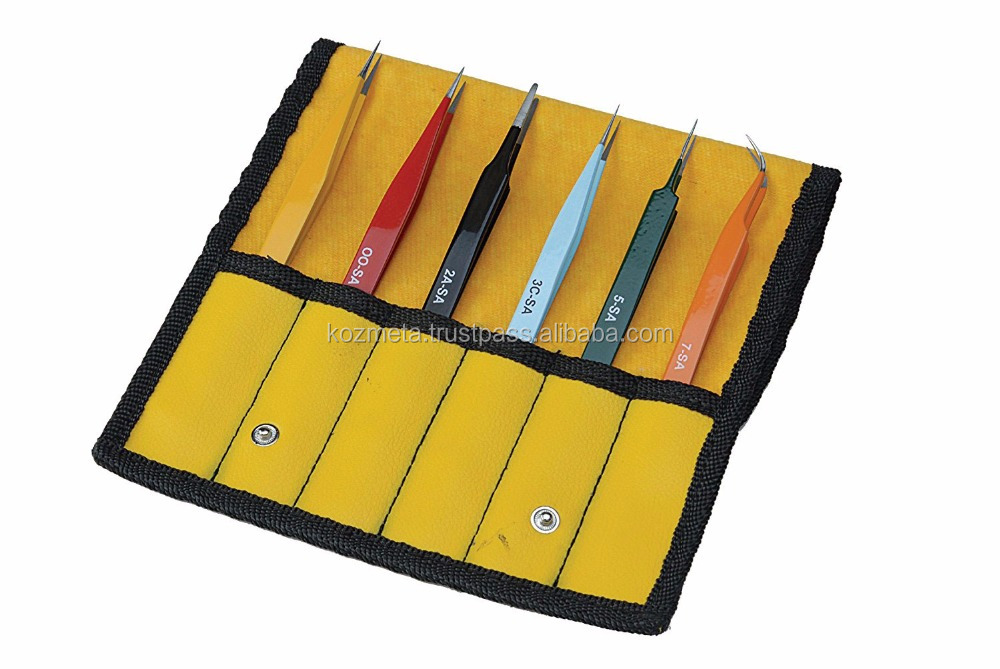9 Pieces Anti-static ESD Tweezers Kit Non-magnetic ESD Tweezers with Storage Bag