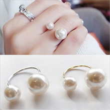 New Korean Style Women Lovely Girls Simulated Imitation Pearl Opening Adjustable Ring Wholesale