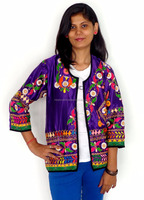 Navratri wear kutch embroidered jacket - Vintage banjara style rabari embroidery jacket - Indo western boho hippie style jacket