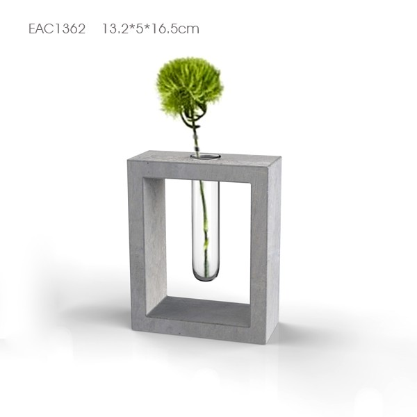 Concrete base flower pot with glass tube test small glass vase