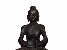 Handmade Indian Antique Bronze Brass Fasting Buddha 10.4 x 7.3 Inches SMG-206