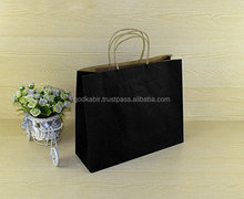 "25 Pcs Kraft Paper Handle Shopping Reusable Gift Merchandise Carry Retail Bags (16"" x 6"" x 12"", Black),Best Recycle use royalbag"