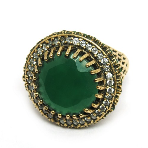 Turkish Jewelry !! Green Onyx_White CZ Sterling Silver Ring With Brass, Antique Silver Jewelry, Wholesale Gemstone Rings