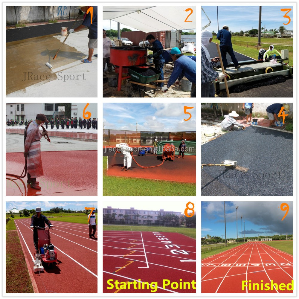 13mm thickness IAAF Spray Coating running track Athletic track for Sport Stadium Flooring Surface