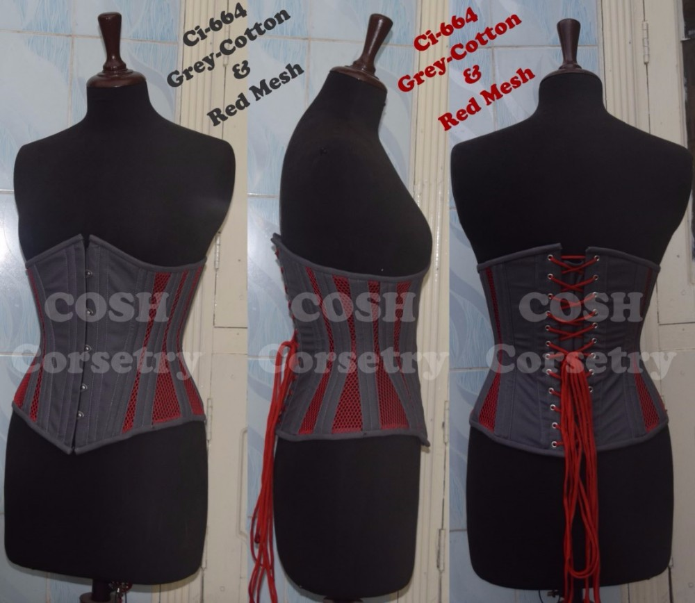 Cotton and Mesh Grey & Red Underbust Regular / Curvy Waist Training 24 Double Steel Boned Corset 664