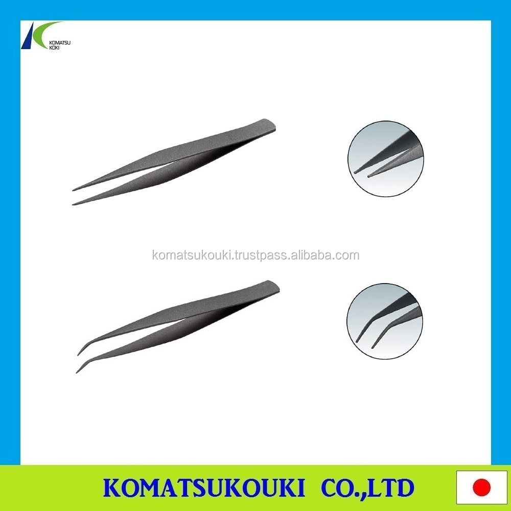 High grade TRUSCO fluorine coated stainless steel tweezers, Made in Japan