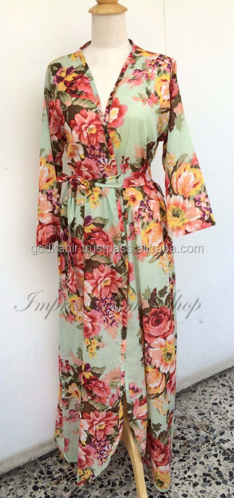 Ankle length Floral maternity robe for delivery./Any Color Any Size, pregnancy and labor feeding child birth, wrap around robe .
