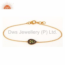 Gold Plated Silver Natural Emerald Gemstone Party Wear Pave Diamond Chain & Link Bracelet Manufacturer of Diamond Jewelry