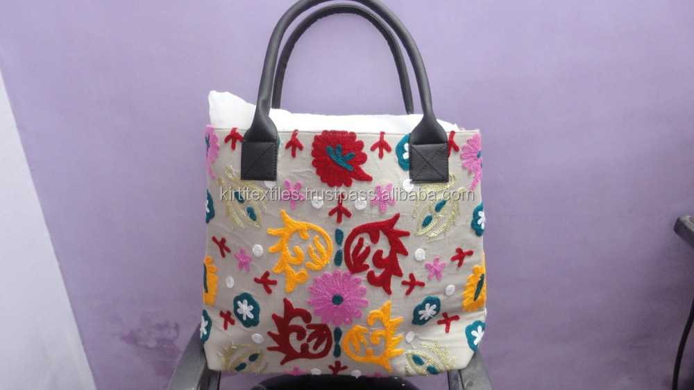 KTHB-51 Handmade Suzani cotton Embroided Fashionable bags From India
