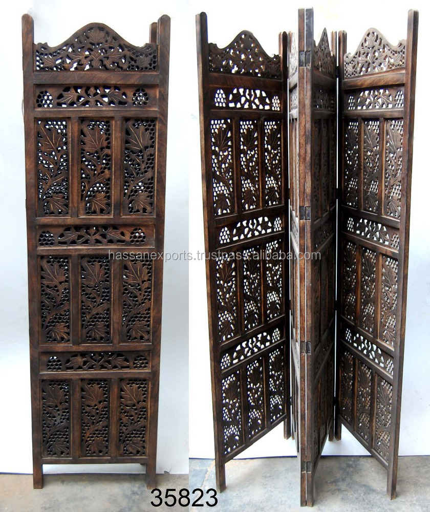 Wooden Screen 4 Panel Antique Room Divider India