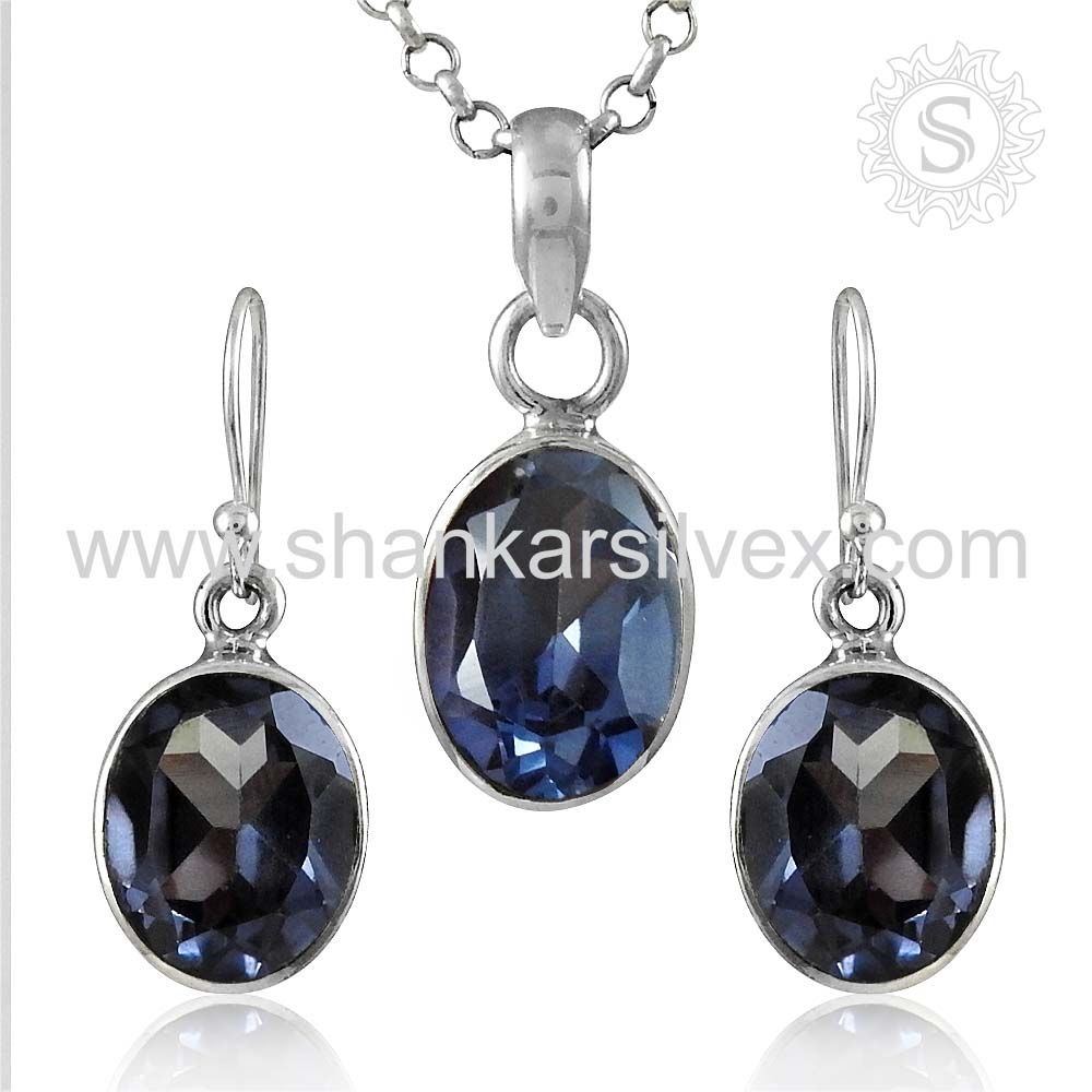 Glittering Gemstone Alexandrite Jewelry Set Handmade Silver Jewelry 925 Sterling Silver Set Manufacturer