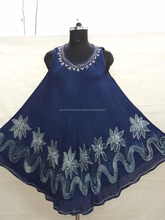 INDIAN UMBRELLA RAYON DYED DRESS WITH PRINT & EMBROIDERY