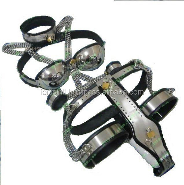 Female Adjustable T type steel chastity belt Thigh Cuff Stainless steel bra handcuffs collar SM SEX TOY