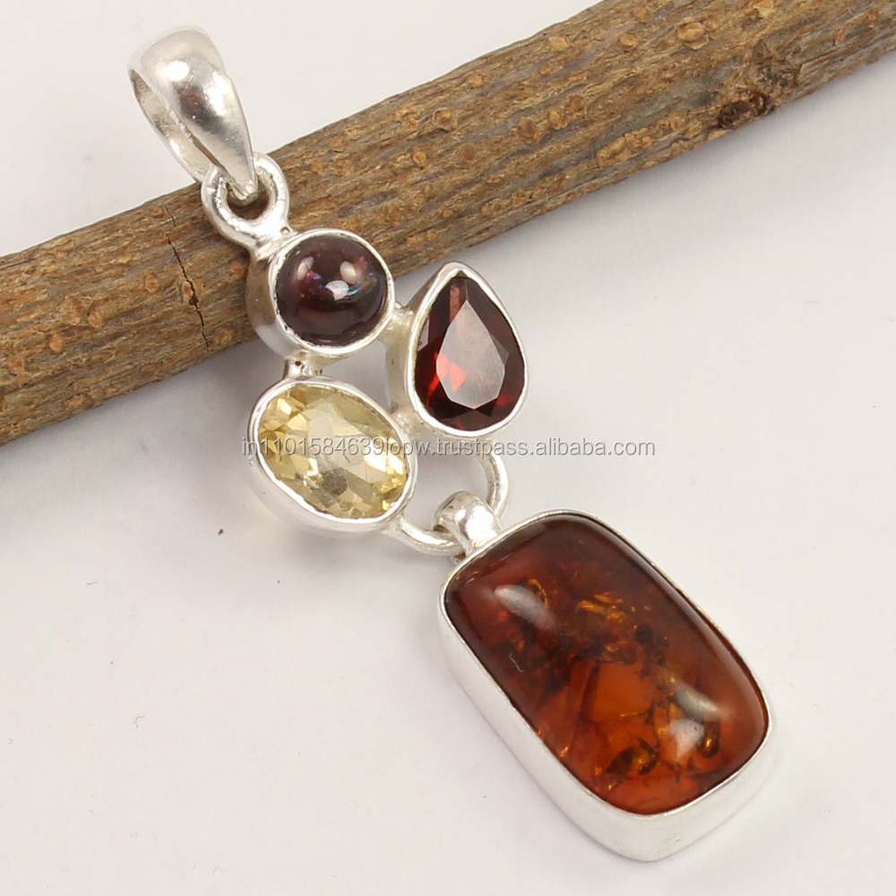 925 Solid Sterling Silver Indian Fashion Pendant Natural AMBER & Other Gemstones