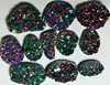 Rainbow Green Titanium Amethyst Druzy Free Form, Cheap Wholesale Rainbow Green Cushion Shape Druzy Stones Natural Titanium Druzy