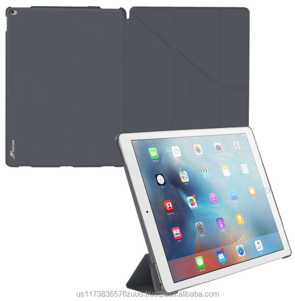 Ultra Slim Lightweight Smart Cover PC Shell PU Leather Folio Case Magnetic Auto Sleep Wake for iPad Pro 12.9 roocase (gray)