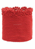 Round crochet basket bright red, green, light grey