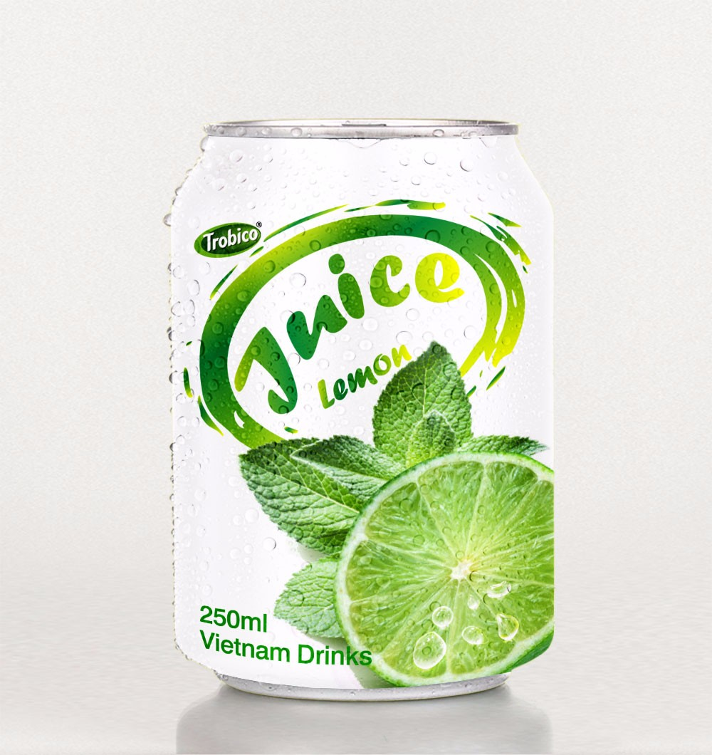 High Quality 250ml short canned fresh Lemon juice from Viet Nam