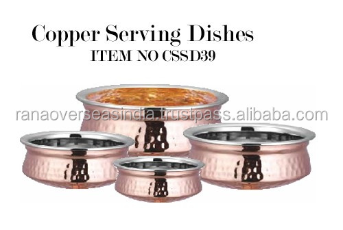 Indian Copper Stainless Steel Handi, Bottom cookware, Hotel Serveware / Catering Bowls / Tableware Serving Bowls