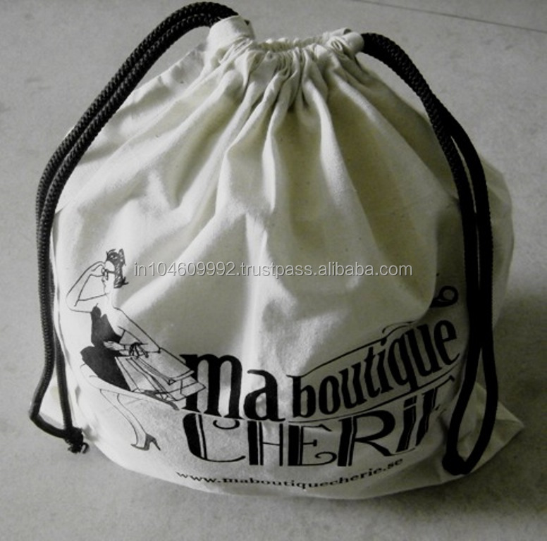 natural cotton packaging cloth draw string bag