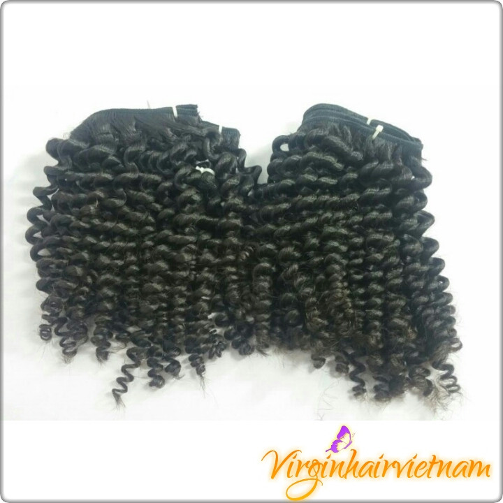 16 Inch Virgin Human Remy Vietnam Cheap Kinky Curly Hair weft in ha noi Vietnam