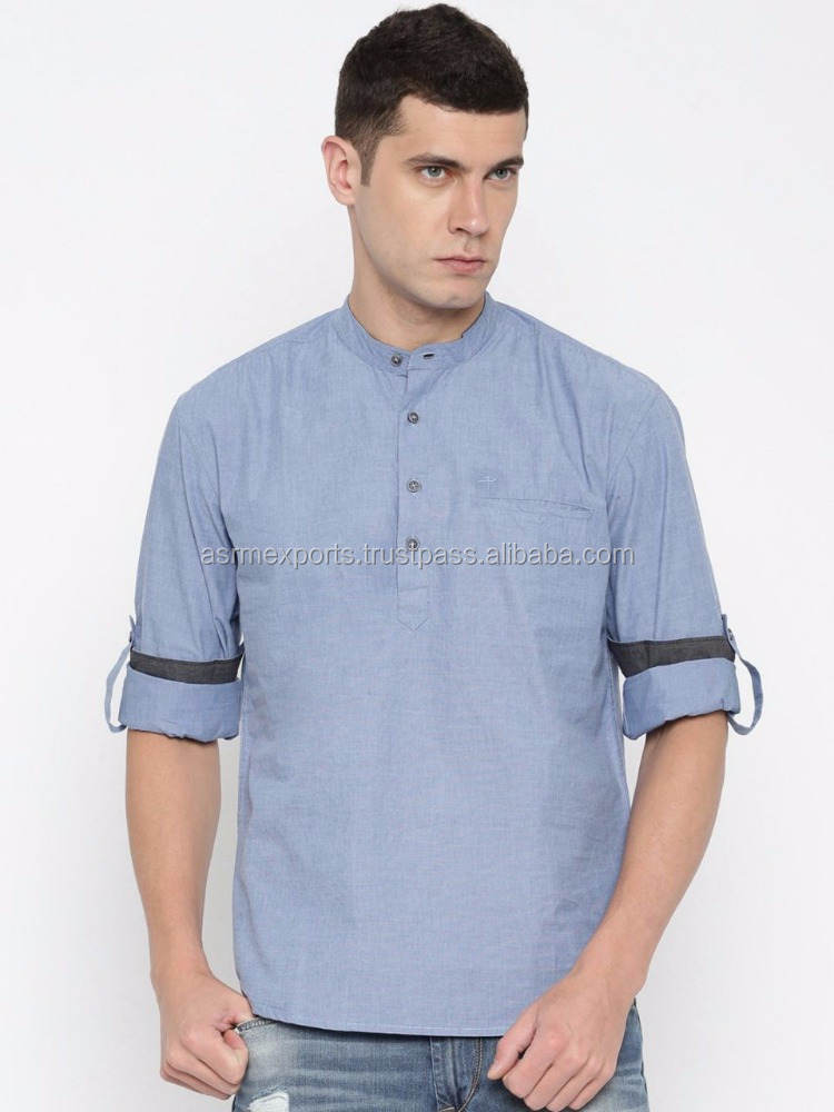 Latest Designs Mens Plain Short Kurta at Wholesale Price from India