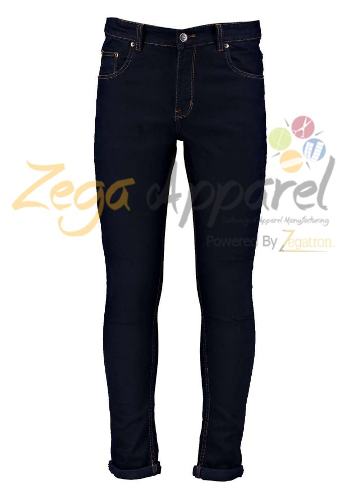 Zegaapparel Mens Casual Button Pocket Knee Patch Design Skinny Tapered Denim Custom Logo Jeans