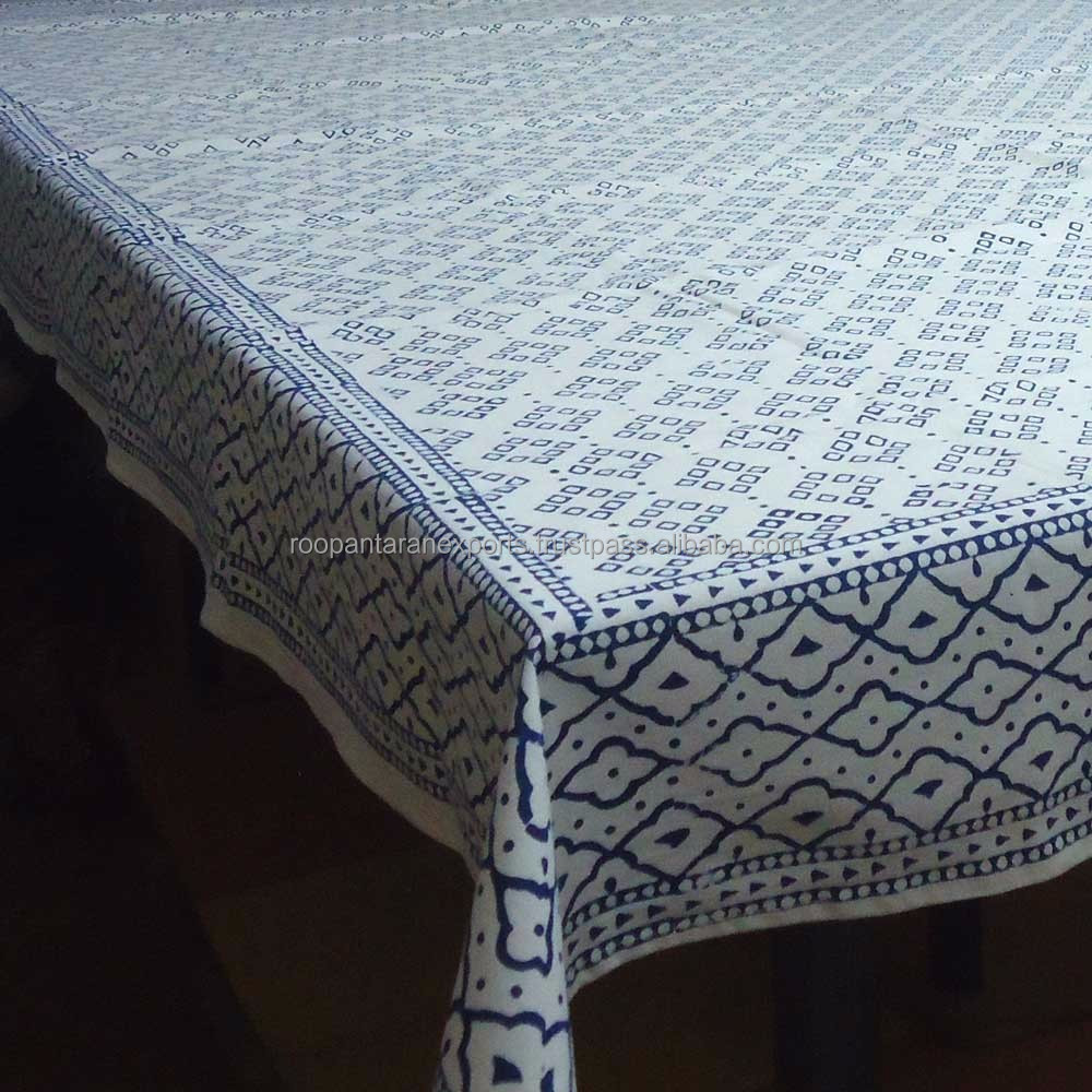 LEHERIYA BLUE 2509 150 x 150 cms Jaipur Wood Block Printed Square Tablecloth