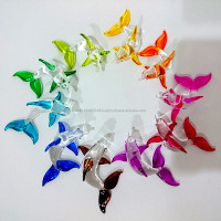 Tiny Dolphin Hand Painting Colorful Multicolor Blown Glass Art Figurines Home Decor / Sea Ocean Collection