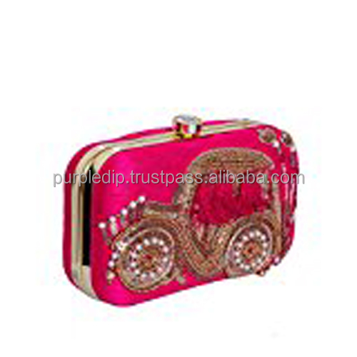 Women's Clutch Purse Golden Thread Embroidery And Pearly Beads to Carry Money, Cards, Mobile Phone (10480)