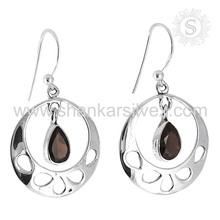 Season Fashion Red Garnet Long Earring 925 Silver Jewelry Gemstone Silver Jewelry Exporter
