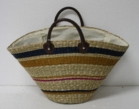 New design 2015! Seagrass handbag, unique picnic bag, shopping handbag with multi color and size