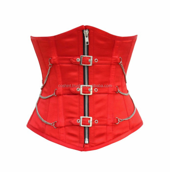 Red Color Satin Steel Boned Waist Training Curvy And Regular Corset In Short And Extended Sizes. Corsets Supplier