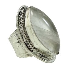 Quartz Stone Silver Plated Large Ring Indian Fashion Jewelry Size Adjustable SR8156