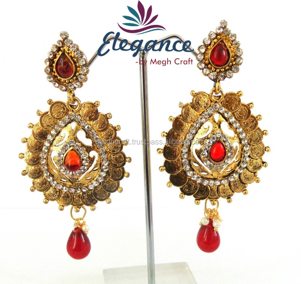 South Indian Ginni Earring  One Gram Gold Plated Temple Earring  South  Indian Lakshmi Coin Earring  Wholesale Bridal Earrings  Buy Indian Gold  Plated