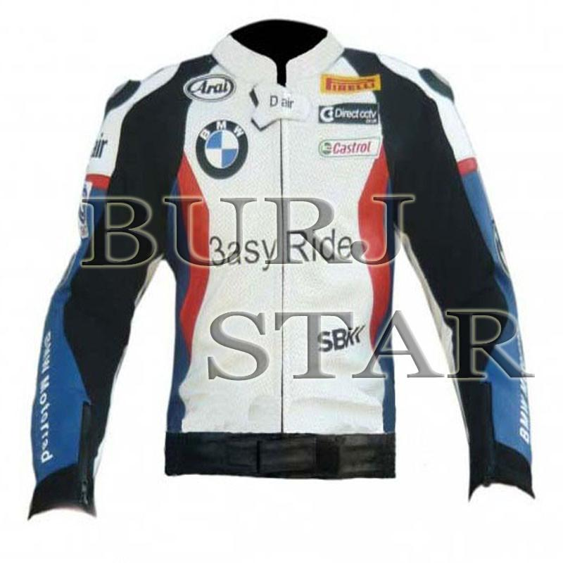 Full Safety Motorbike Racing Leather Jacket - Genuine Cowhide Leather
