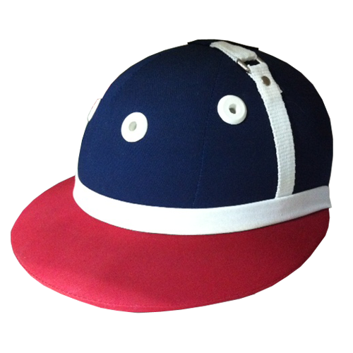 Polo Helmet Fabric Navy blue Red peak White band Polo Helmet Riding helmet