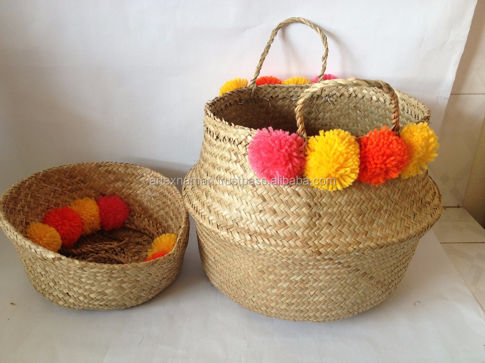 Basket Weaving Supplies Singapore : Seagrass foldable basket with pompoms rice