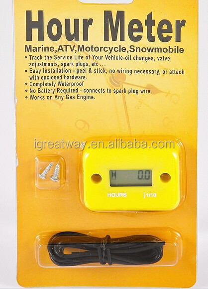 waterproof hour tach meter for 2 or 4 stroke gas engine