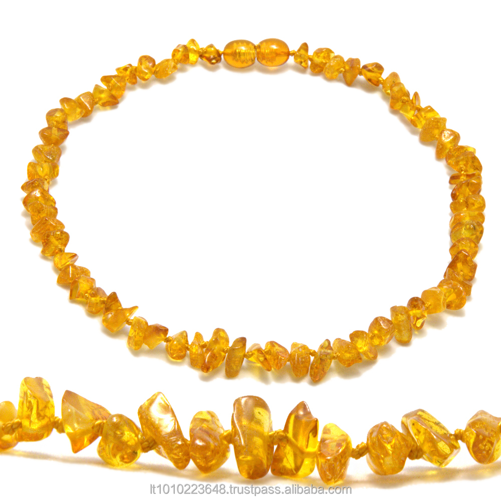 Honey color chips/nuggets style teething necklace from natural Baltic amber made in Lithuania